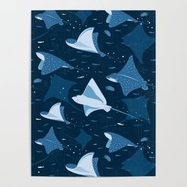 Blue stingrays pattern Poster