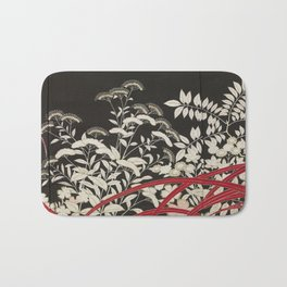 Kuro-tomesode with a Pair of Pheasants in Hiding (Japan, untouched kimono detail) Bath Mat