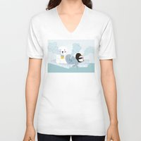 coffe V-neck T-shirts featuring polar coffe by Proyecto Melón