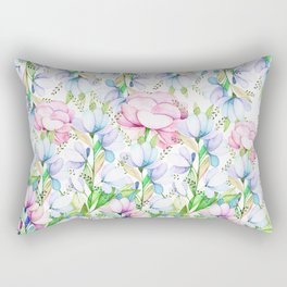 Hand painted pink lavender teal watercolor floral Rectangular Pillow