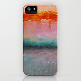 Fire Sunset vibrant mixed media abstract seascape iPhone Case