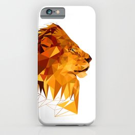 Geometric Lion Wild animals Big cat Low poly art Brown and Yellow iPhone Case