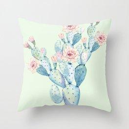 Rose Desert Cactus Mint Green + Pink by Nature Magick Throw Pillow