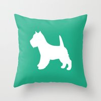 westie Throw Pillows featuring Westie (Mint/White) by Erin Rea