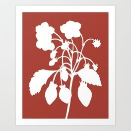 Wild Strawberry in Ruby Red - Original Floral Botanical Papercut Design Art Print