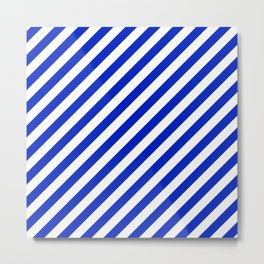 Cobalt Blue and White Wide Candy Cane Stripe Metal Print
