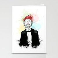 steve zissou Stationery Cards featuring Steve Zissou  by suPmön