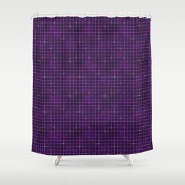 Purple retrowave grid Shower Curtain
