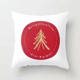 Merry Christmas, Kiss My Ass - Red Throw Pillow
