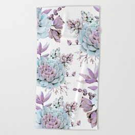 Turquoise and Violet Succulents Beach Towel