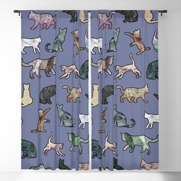 Cats shaped Marble - Violet Blue Blackout Curtain