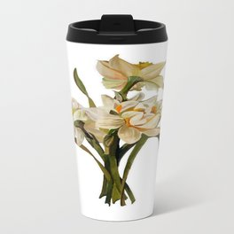 Double Narcissi In A Bouquet Isolated Travel Mug