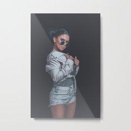 Fashion Girl Posing, wearing Urban Hipster Style, Sweet Pastel Colors, Trendy Sunglasses, Pink Jacke Metal Print