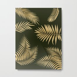 Golden and Green Palm Leaves Metal Print