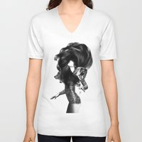 feathers V-neck T-shirts featuring Bear #3 by Jenny Liz Rome
