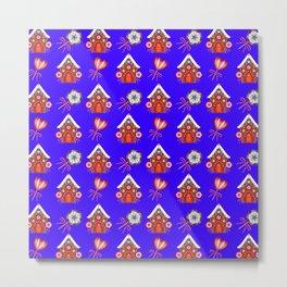 gingerbread houses, colorful sweet lollipops. Retro vintage cute Christmas blue pattern Metal Print
