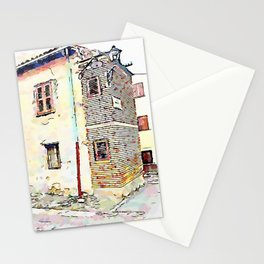 Camerata Nuova: glimpse of the buildings with two street lamps Stationery Cards