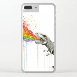 T-Rex Dinosaur Rainbow Puke Taste the Rainbow Watercolor Clear iPhone Case