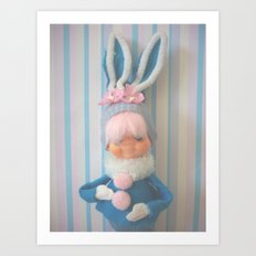 pink haired bunny Art Print