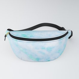 Blue Marble - Shimmery Turquoise Blue Sea Green Marble Metallic Fanny Pack