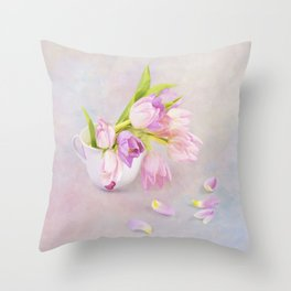 Pink & Purple Tulips In Vintage Tea Cup Throw Pillow