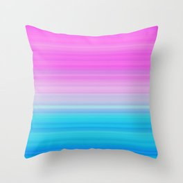 Pink & Aquamarine Blue Stripes Throw Pillow