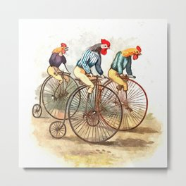 Racing Roosters Metal Print