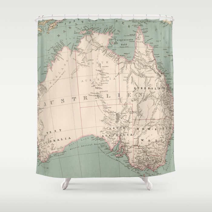 Vintage Topographic Map Of Australia 1868 Shower Curtain By