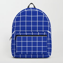 Egyptian blue - blue color - White Lines Grid Pattern Backpack