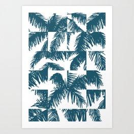 Palm Leaf Pattern Blue Art Print