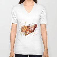 chicken V-neck T-shirts featuring Chicken by libby's art studio