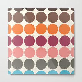70s Style Clolorful Freehand Retro Dots Metal Print