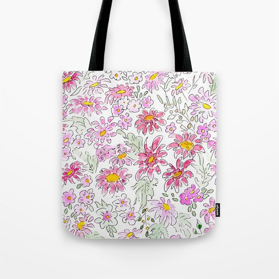 Watercolor . Summer flowers . Tote Bag