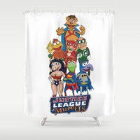 muppets Shower Curtains featuring Justice League of Muppets by JoshEssel