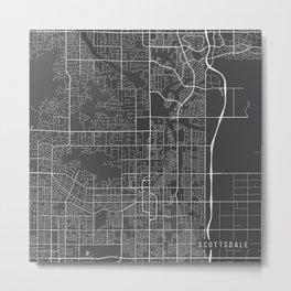 Scottsdale Map, USA - Gray Metal Print