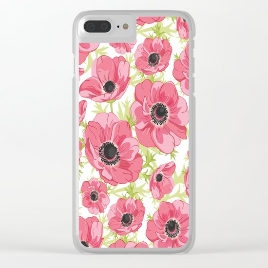 Pink Anemones Clear iPhone Case