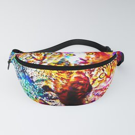 cat trio splatter watercolor colorful background Fanny Pack