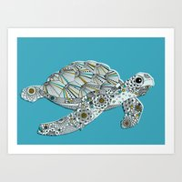 sea turtle Art Prints featuring Sea Turtle by Rachel Russell