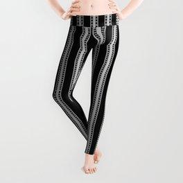 Black and White French Fleur de Lis in Mattress Ticking Stripe Leggings
