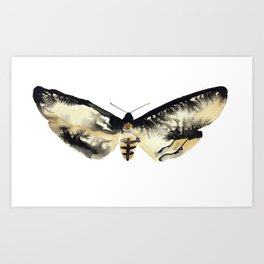 Death's Head Moth in Ink Art Print