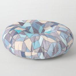 Shifitng Geometric Pattern in Blue Floor Pillow