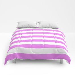 Horizontal Stripes (Violet/White) Comforters