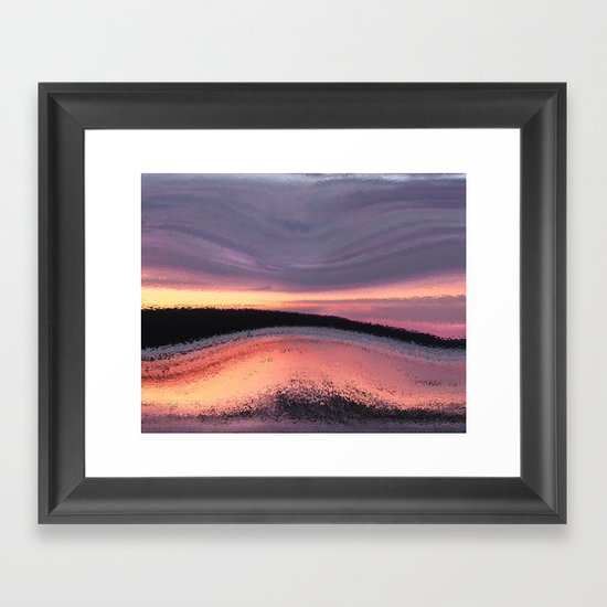 Sunset Ocean Wave Abstract Framed Art Print