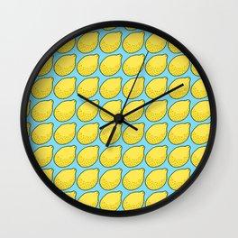 Lemons on Bright Blue Wall Clock