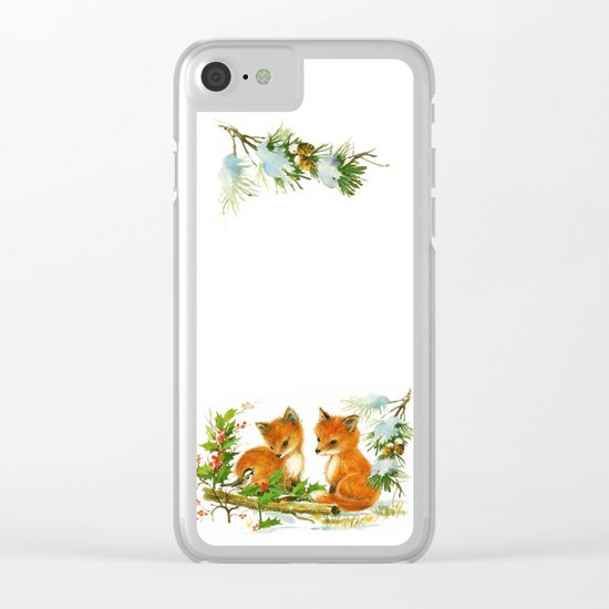 Vintage dream- little Winterfoxes in snowy forest Clear iPhone Case