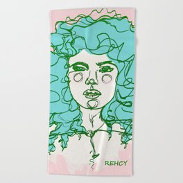 Turquoise Mermaid Curls Beach Towel