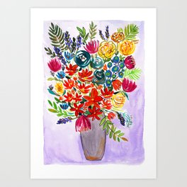 Autumn wildflowers in a vase Art Print