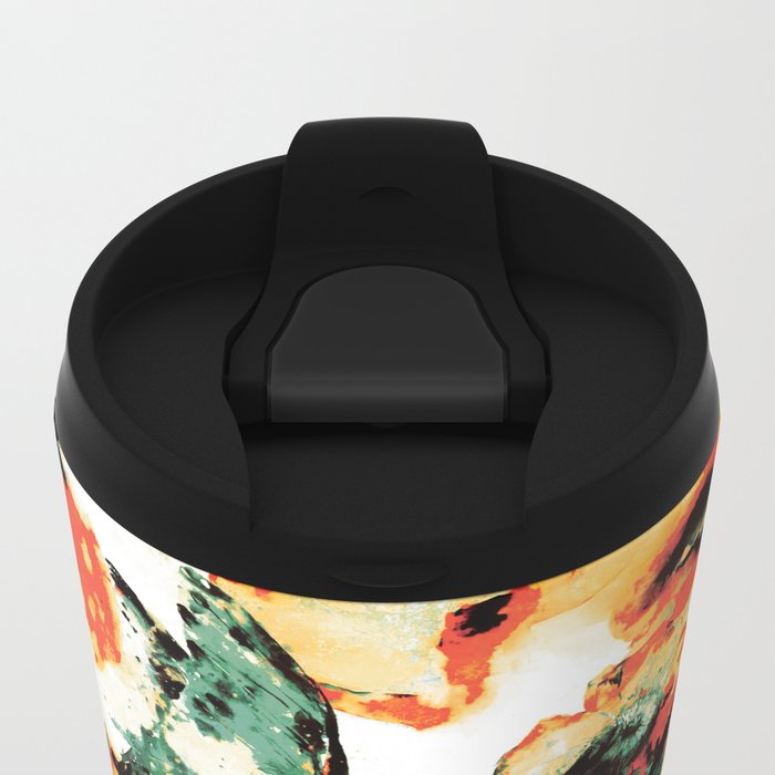 Flowers And Butterflies Metal Travel Mug