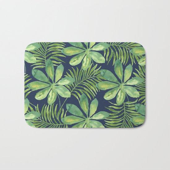 Tropical Branches Pattern on Dark 01 Bath Mat