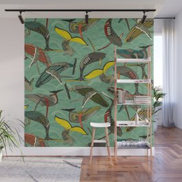 whales and waves jade Wall Mural